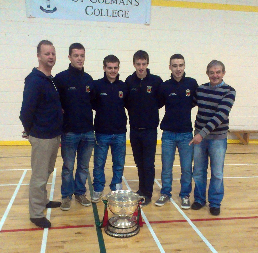 Pictured at a celebration to mark the links between St Colman's College and the Al-Ireland winning Mayo minor football team yesterday (l-r): Michael Gleeson, Stephen Coen, Kevin Jordan, Ronan Finn, Mark Mulligan and Michael Burke.